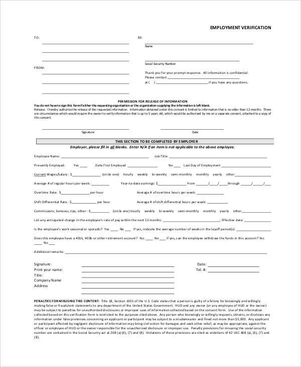 Verification Of Employment Form Template Employment Verification - previous employment verification letter