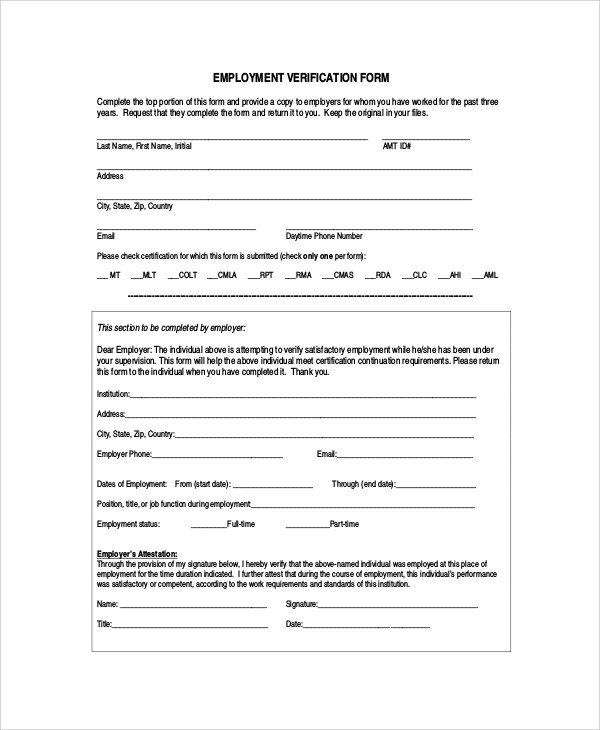 7+ Sample Employment Verification Forms Sample Templates