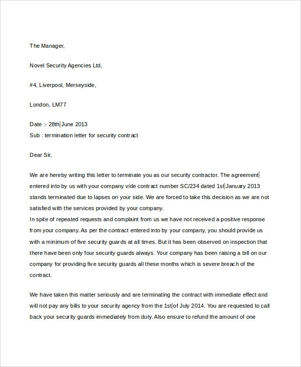 company termination letters
