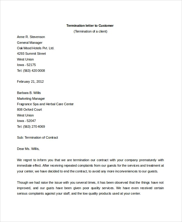 6+ Sample Contract Termination Letters Sample Templates