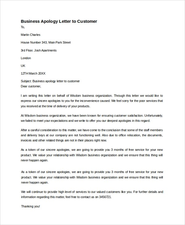 Customer Apology Letter Apology Letter For A Delay Apology Letter - example of sorry letter