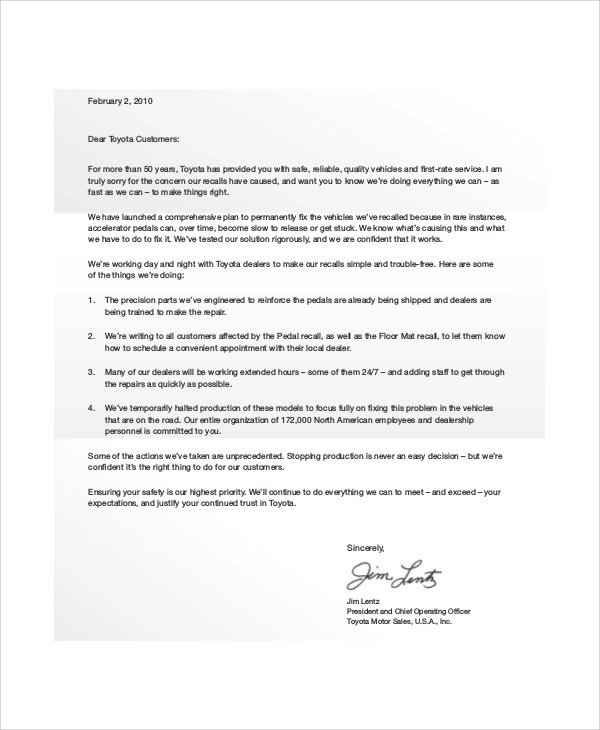6+ Sample Customer Apology Letters Sample Templates - how to make an apology letter