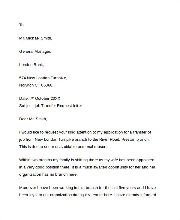 transfer cover letter