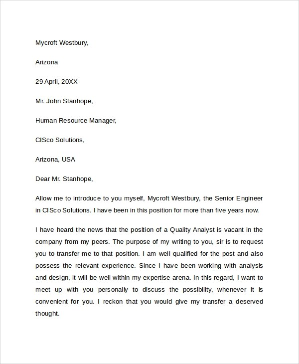 9+ Sample Transfer Request Letters \u2013 PDF, Word, Apple Pages, Google - transfer request letter