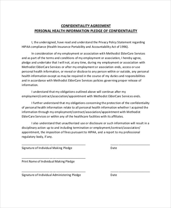 Sample Personal Confidentiality Agreement - 7+ Documents in PDF, Word - confidentiality statement