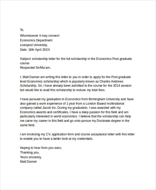 Scholarships Application Letter Sample  Job Cover Letter Unique