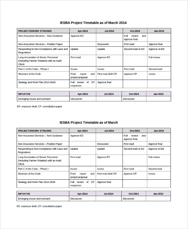 Sample Project Timetable - 6+ Documents in PDF
