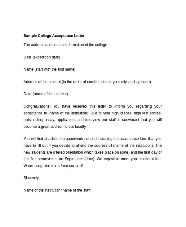college acceptance letter template - Konipolycode