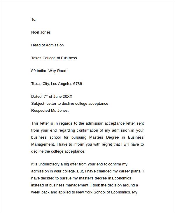 8+ Sample College Acceptance Letters \u2013 PDF, Word Sample Templates - college acceptance letters