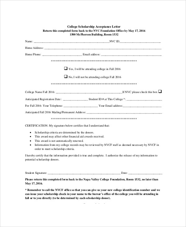 Sample College Acceptance Letter - 7+ Documents In PDF, Word - scholarship acceptance letter