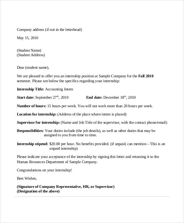 11+ Sample Internship Acceptance Letters - PDF, DOC