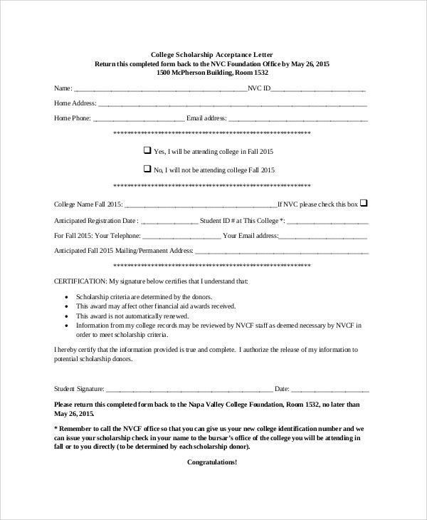 Sample Scholarship Acceptance Letter - 6+ Documents In PDF, Word - sample scholarship certificate