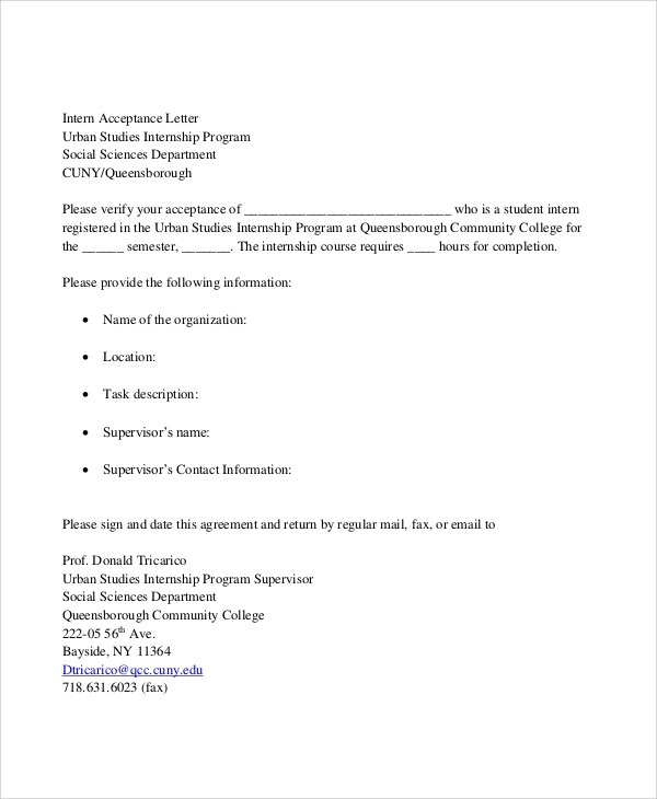 7+ Sample Internship Acceptance Letters \u2013 PDF, DOC Sample Templates