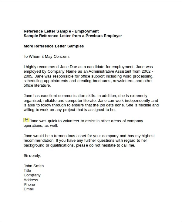 7+ Sample Employment Reference Letters Sample Templates