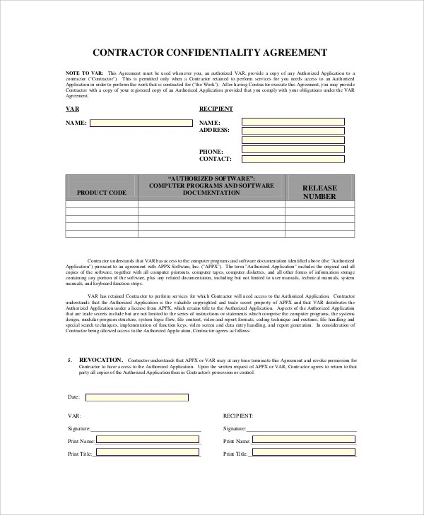 Sample Contractor Confidentiality Agreement - 7+ Documents In PDF - contractor confidentiality agreement