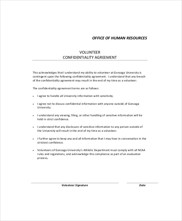7+ Sample HR Confidentiality Agreements Sample Templates