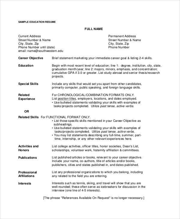 8+ Resume Career Objectives Sample Templates - resume career objective sample