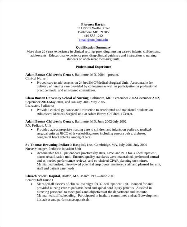 8+ Sample Nursing Resumes Sample Templates