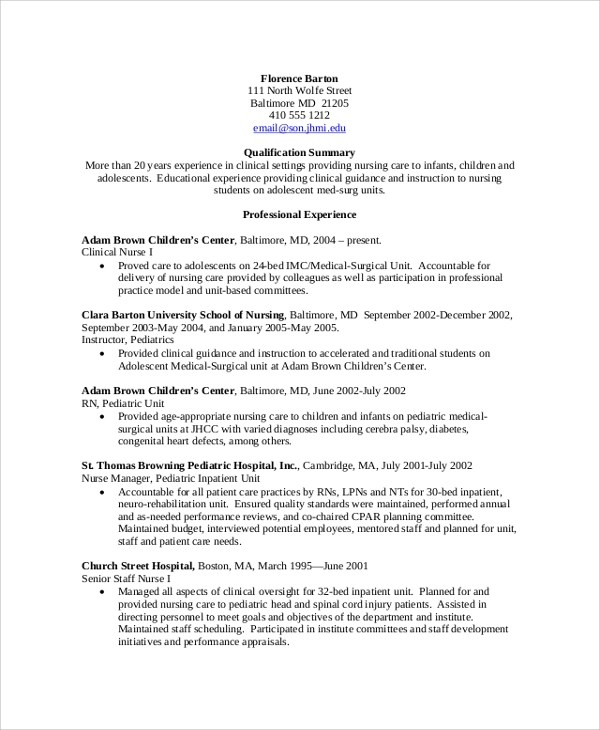 8+ Sample Nursing Resumes Sample Templates - Experienced Nurse Resume