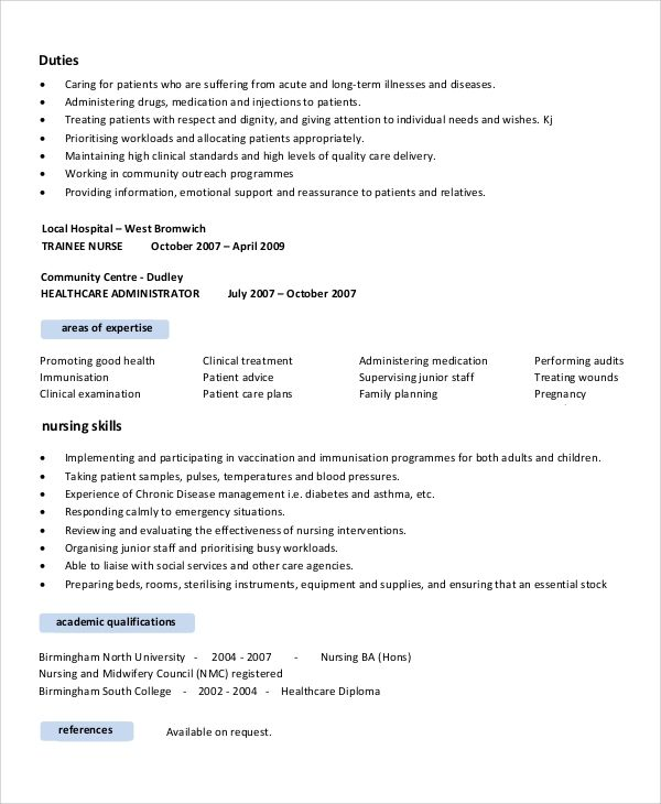 nurse resume sample objective