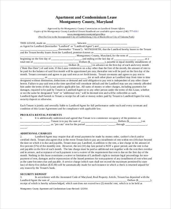Apartment Rental Lease Agreement Image collections - Agreement - apartment rental contract sample