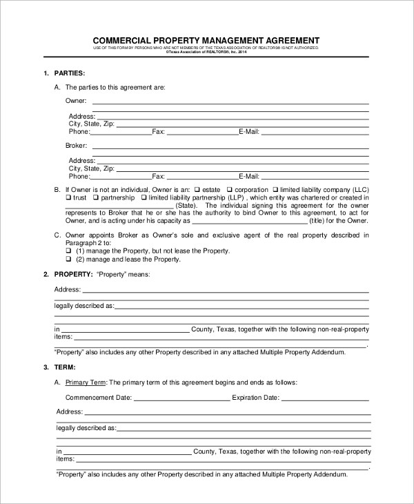8+ Sample Property Management Agreements Sample Templates - management agreements