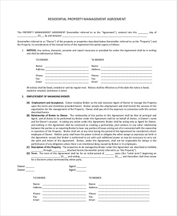 Sample Property Management Agreement - 9+ Documents in PDF, Word