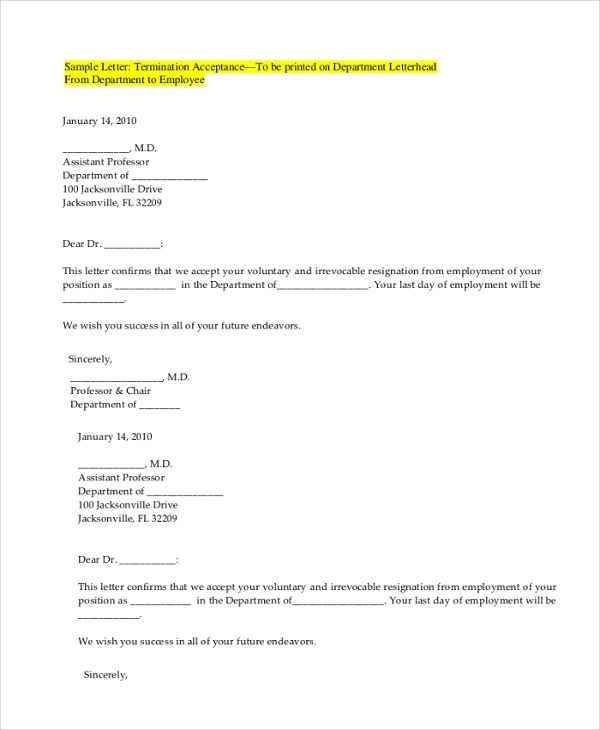 voluntary termination letter templates