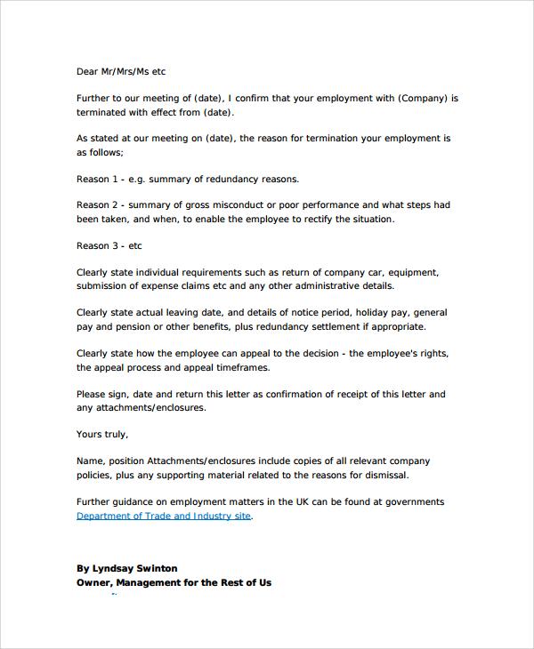 8+ Sample Employment Termination Letters Sample Templates - job termination letters