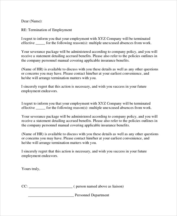 8+ Sample Employment Termination Letters Sample Templates
