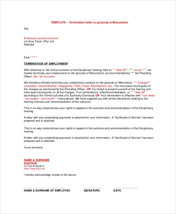 38 Termination Letter Samples  Templates Sample Templates