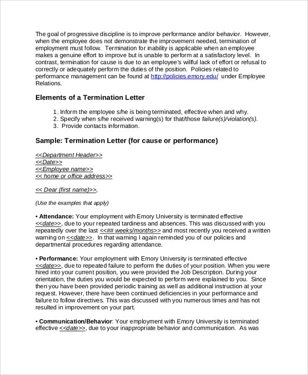 Sample Employment Termination Letter - 7+ Documents in PDF, Word
