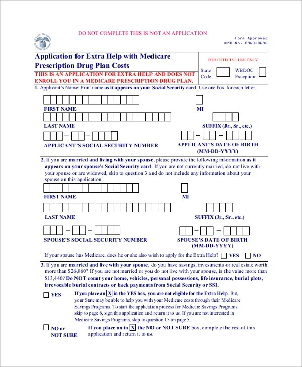 8+ Sample Medicare Application Forms Sample Templates