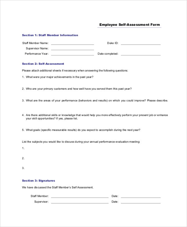 9+ Sample Self Assessment Forms Sample Templates