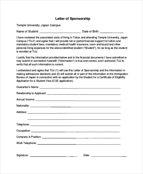 7+ Sample Sponsorship Request Letters Sample Templates - Format Of A Sponsorship Letter