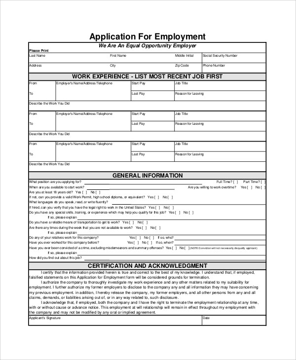 employment applications forms - Onwebioinnovate - Employment Application Forms