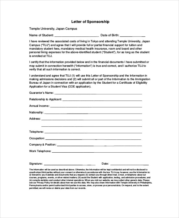 8+ Sample Visa Sponsorship Letters \u2013 PDF, DOC Sample Templates - visa sponsorship letter