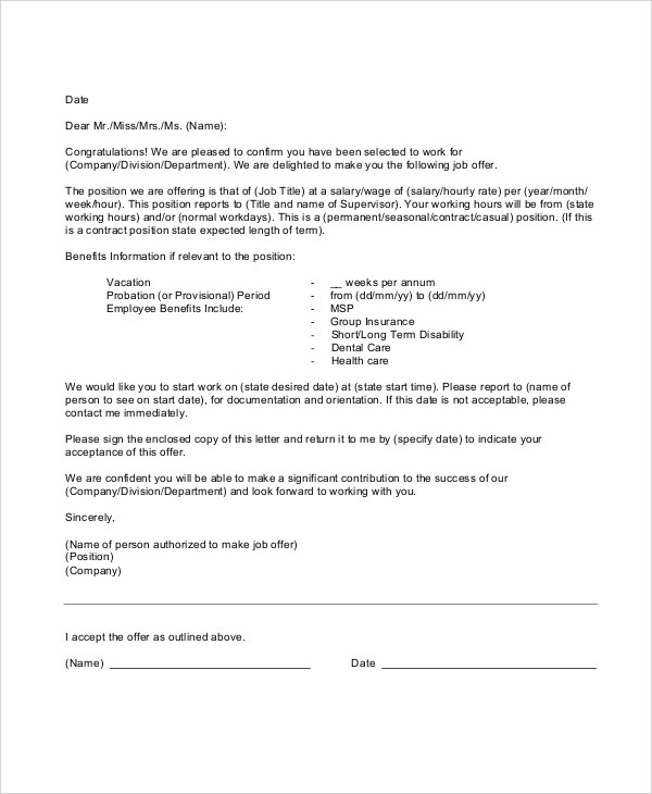 sample offer letters employment - Onwebioinnovate
