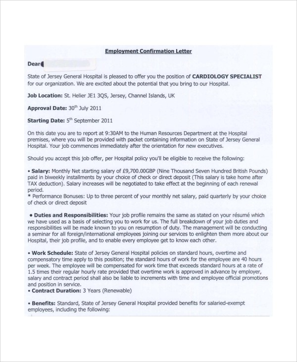 6+ Sample Employment Offer Letters Sample Templates - employment offer letter