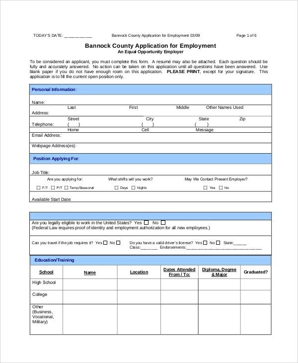 Sample Employment Application Form - 7+ Documents in PDF - employment application form