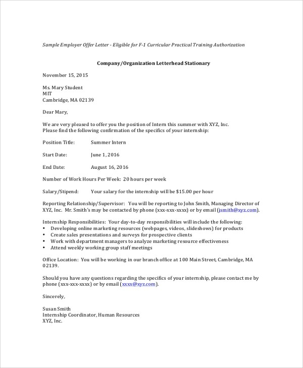 internship offer letter format for students - Onwebioinnovate