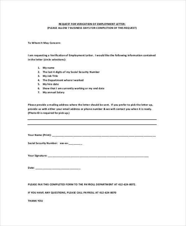 Employment Verification Letter Templates - 7+ Documents in PDF, Word