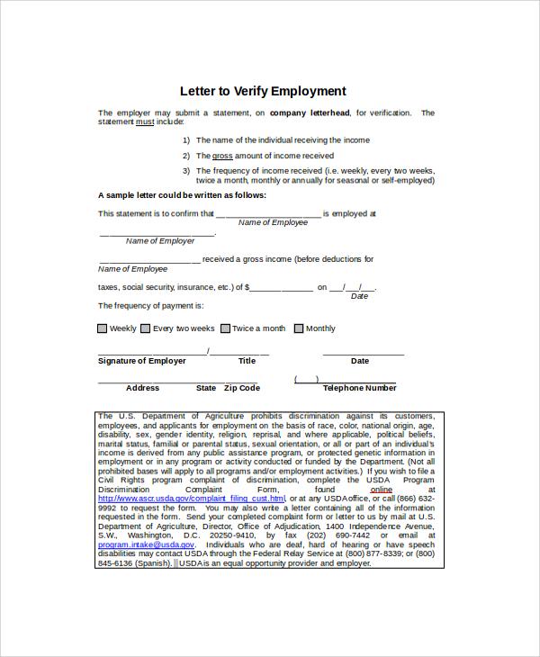 8+ Employment Verification Letter Templates Sample Templates - income verification letter