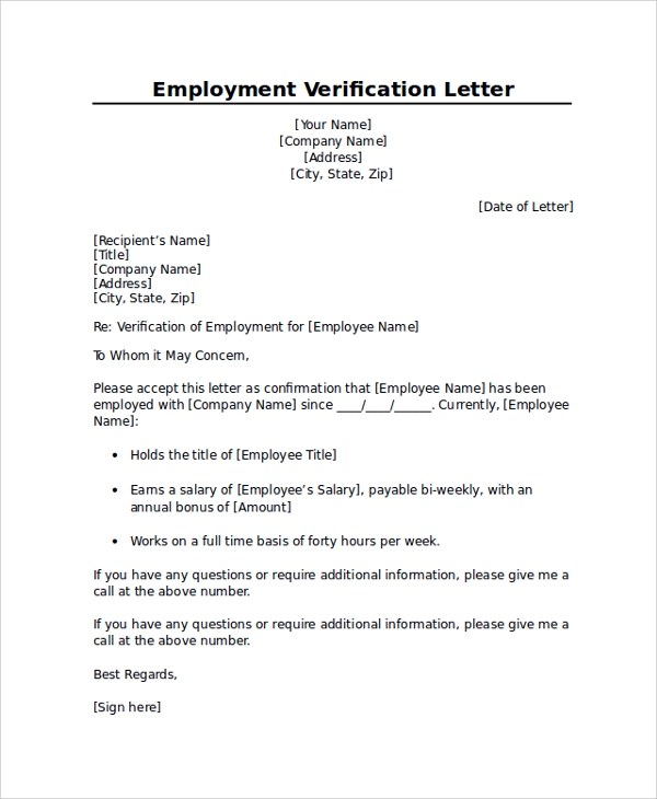 8+ Employment Verification Letter Templates Sample Templates