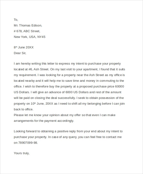 7+ Sample Real Estate Offer Letters - PDF, Word