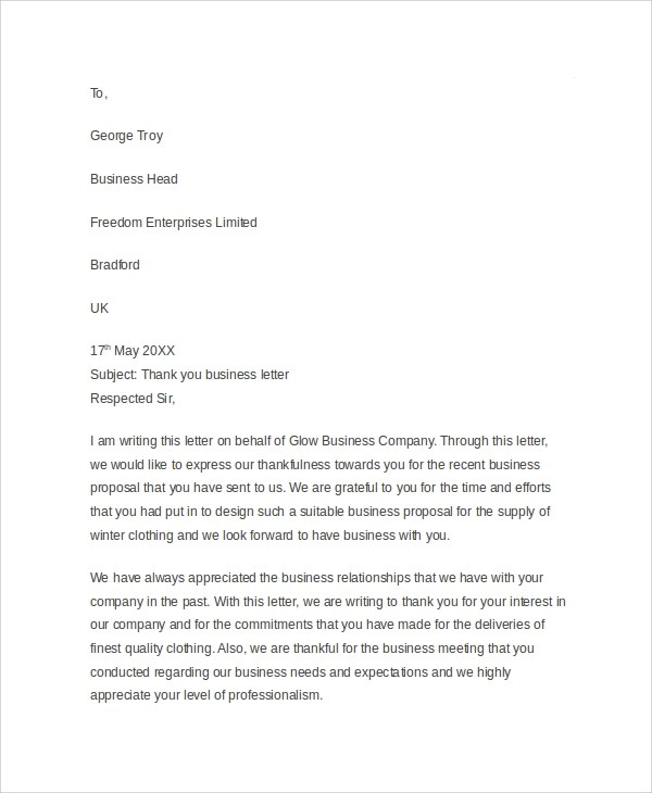 Sample Business Thank You Letter - 6+ Documents In PDF, Word - sample thank you for your business letter