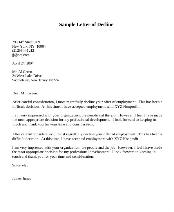 offer decline letter - Goalgoodwinmetals - decline offer letter