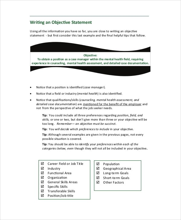 8+ Sample Resume Objective Statements Sample Templates - job resume objective statement examples
