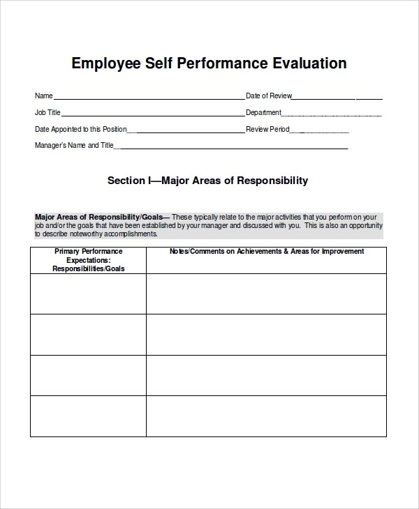 Sample Employee Performance Evaluation - 6+ Documents in PDF, Word