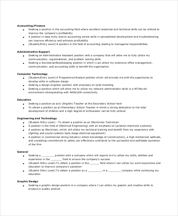 Sample General Resume Objective - 5+ Documents In PDF - general resume objectives